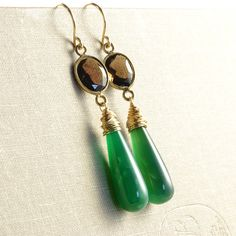 Chalcedony and smoky quartz earrings by NansGlam