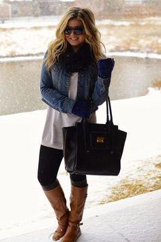 fall/winter outfit    denim jacket + sweater + fleece-lined leggings + boot socks + boots + scarf + fingerless gloves