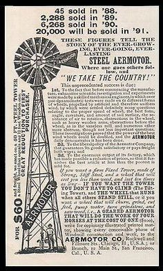 paperink id: Windmill Steel Aermotor AD 1891 Does Work of Four Horses Durable Economical ORIGINAL Period Magazine Advertisement. Small Ad measures approximately x You are purchasi Business Card Maker, Unique Business Cards, Business Card Design, Vintage Advertisements, Vintage Ads, Vintage Posters, Advertising Ideas, Vintage Labels, Vintage Signs