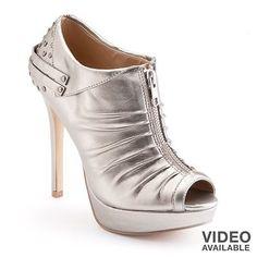 6b094de203d8 Women s Rock Republic Silver Ruched Zipper Studded Heel Peep Toe Ankle  Booties