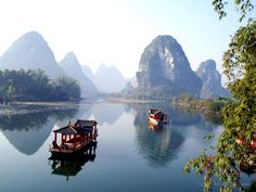 Li river cruise, southern China. Fairytale karsts create beautiful landscapes that I fell in love with - I actually visited three times in a year...