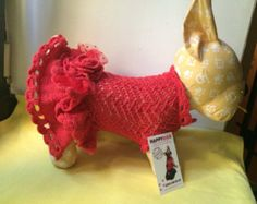 Red color designer hand knitted dog dress with rose flower Chihuahua hanmade clothing Small dog dress Dog crochet dress Dog accessories