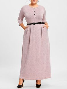 a71834ece5d1c V Neck Button Plus Size Maxi Dress