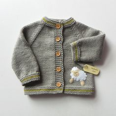 Knit kids jacket with white sheep grey baby merino sweater  MADE TO ORDER - pinned by pin4etsy.com