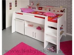 The Parisot Swan Cabin Bed is constructed from high quality particleboard and has matt white color finish. This cabin bed includes the Mid Sleeper bed frame, a free-standing pull-out desk, and built-in shelving areas with a cupboard. Childrens Mid Sleeper Beds, High Sleeper Bed, Cool Bunk Beds, Kid Beds, Bed Shelves, Shelf, Bed With Drawers, Bed Storage, Storage Drawers