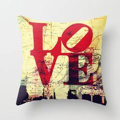 Big Bold Philly Sky. Love Park Philadelphia Skyline Inspired Throw Toss Pillow by Brandi Fitzgerald