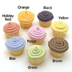 Natural Food Colors Frosting on Mini Cupcakes