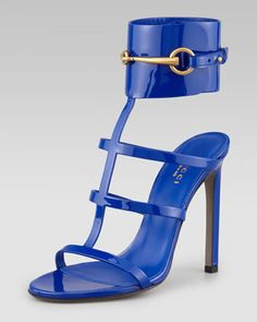 Patent Leather Gladiator Sandal, Cobalt by Gucci at Neiman Marcus.