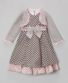 Love this Gray & Pink Polka Dot Bow Dress & Shrug - Girls by Donita on Baby Girl Pink Dress, Birthday Girl Dress, Baby Dress, Little Girl Outfits, Little Girl Dresses, Kids Outfits, Girls Dresses, Toddler Dress, Infant Toddler