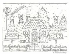 Gingerbread House Winter Scene - Coloring Page - PDF - Instant Download