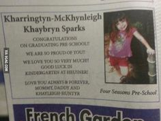 well no wonder its such an accomplishment, the poor kid probably spent the whole time trying to figure out how to spell her own name.