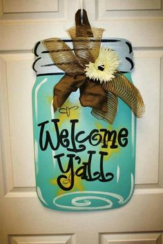 Burlap Crafts, Wood Crafts, Burlap Wreaths, Primitive Crafts, Mason Jar Crafts, Mason Jars, Cute Crafts, Diy And Crafts, Craft Projects