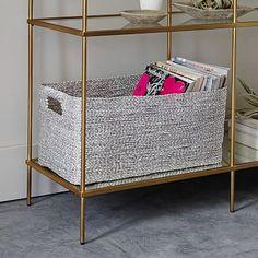 Location: bookshelf storage Metallic Woven Console Basket #westelm