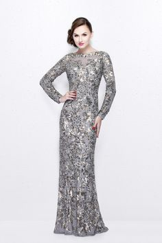bd201b8f78 Buy the Long Sleeve Luxurious Floral Sequined Long Sheath Gown 1401 by Primavera  Couture at CoutureCandy