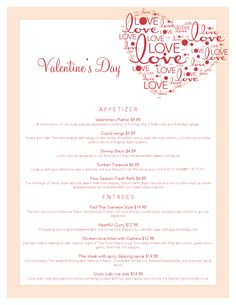 Valentine's Day Menu at Cafe de Bangkok on Friday, February 14th.