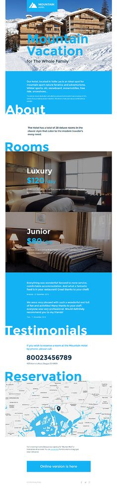 Template 57616 - Mountain Hotel  Responsive Newsletter Template