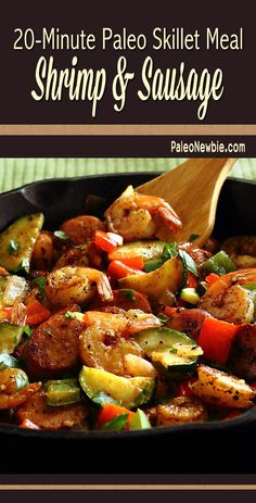 Shrimp & Sausage Skillet Paleo Meal Got 20 minutes? Try this delicious surf and turf paleo hot skillet dish with your favorite pre-cooked sausage and these quick-cooking veggies. Seafood Recipes, Paleo Recipes, Low Carb Recipes, Cooking Recipes, Paleo Meals, Paleo Food, Sausage And Shrimp Recipes, Paleo Dairy, Milk Recipes