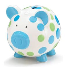 Dashing Dots Collection Blue and Green Polka Dot Piggy Bank Adorable Baby/Toddler Gift Pottery Painting, Ceramic Painting, Pebble Painting, Toddler Gifts, Baby Gifts, Baby Presents, Toddler Stuff, Large Piggy Bank, Personalized Piggy Bank
