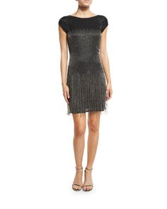 TCLFW Aidan Mattox Cap-Sleeve Beaded Fringe Cocktail Dress, Black