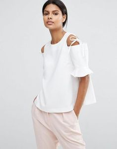 ASOS Clean Crepe Cold Shoulder Top with Tie & Ruffle Sleeve