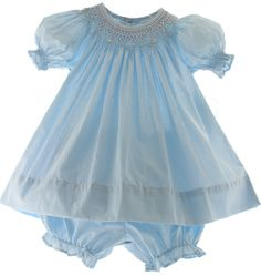 Hiccups Childrens Boutique - Infant Girls Blue Smocked Bishop Dress with Bloomers, $39.00 (http://www.hiccupschildrensboutique.com/infant-girls-blue-smocked-bishop-dress-with-bloomers/)