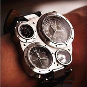 Image of Black Steampunk Mechanical Man Wrist Watch / Antique Quartz Watch (WAT0101-BLACK)