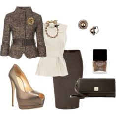 Work outfit- not sure about coat. Like the peplum top, pumps, skirt and clutch