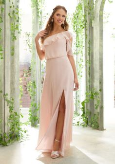 Morilee 21603 is a Boho Chiffon Bridesmaid Gown that has a One Shoulder Ruffled Neckline and Delicate Flutter Sleeve. A blouson bodice, open back, and high leg slit complete the look of this comfortable long dress. Mori Lee Bridesmaid Dresses, Tulle Bridesmaid Dress, Bridal Dresses, Chiffon Dresses, Wedding Bridesmaids, Girls Dresses, Prom Dresses, Gala Gowns, A Line Gown