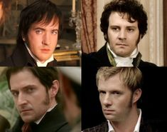 MY FAVORITES: Matthew Macfadyen as Mr. Darcy in Jane Austen´s Pride and Prejudice (2005) - Colin Firth as Mr. Dracy in Jane Austen´s Pride and Prejudice (BBC, TV Series, 1995) - Richard Armitage as Mr. John Thornton in ELIZABETH GASKELL´S North and South (TV Mini-Series, 2004) - Rupert Penry-Jones as Captain Wentworth in Jane Austen´s Persuasion (TV Movie, 2007)