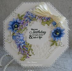 Hello everyone, Sharing a card I have made for my box. Hexagon Cards, Tonic Cards, Tattered Lace Cards, Birthday Cards For Women, Shaped Cards, Beautiful Handmade Cards, Passion Flower, Pretty Cards, Creative Cards