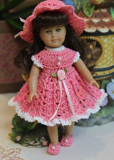 PDF PATTERN Crochet 6 inch American Girl Mini Doll Dress Set Roses Pearls