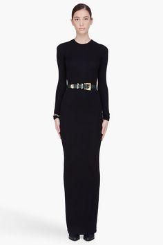 BALMAIN //  LONG BLACK STRETCH DRESS