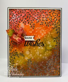 The Stamp Simply Ribbon Store - Warm Wishes Autumn Card - Watercolor with Distress Inks
