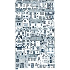 Coastal Cottages tea towel - screen printed tea towel designed by Jessica Hogarth and printed in the UK - Stylish kitchen textiles Textiles, Textile Patterns, Coastal Cottage, Coastal Decor, House Drawing, Stylish Kitchen, Surface Pattern Design, Fabric Painting, Tea Towels