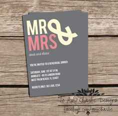 Rehearsal Dinner Invitations  Wedding Invitations  by TeAmoCharlie, $10.00
