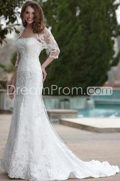 Empire Strapless Chapel Lace Satin Bridal Gowns - Bridal Wedding Dresses