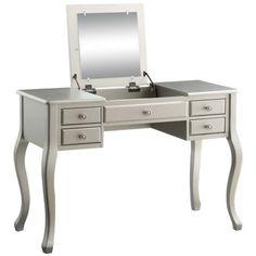 Acme Ordius Vanity Set in Tan Velvet, Multiple Colors, Beige Bedroom Vanity Set, Vanity Desk, Acme Furniture, Furniture Deals, Small Writing Desk, Silver Vanity, Online Furniture Stores, Wood Mirror, Home Goods