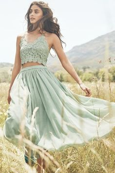 Green Two Pieces Prom Dress,Lace Prom Dress,MB 398