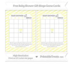 Pastel Light Yellow Diagonal Striped Baby Shower Gift Bingo Cards
