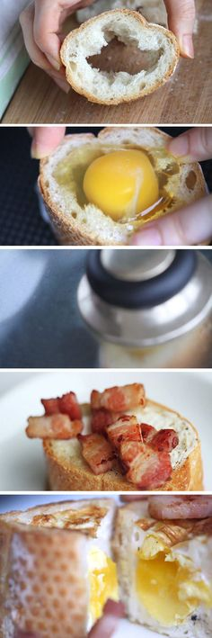 A quick and easy 3-ingredient baguette with egg and bacon over stove-top. Try a different way to prepare a breakfast! This was a big hit on Pinterest.