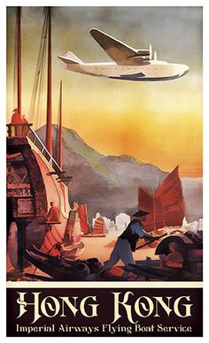 Hong Kong Imperial Airways Travel Poster Poster Paper by WallArty