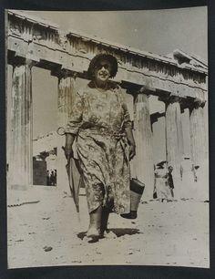 Agatha Christie visits the Acropolis, 1958.