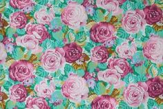 Pink /Rosy/Green Floral Fabric Cotton Flower by CraftSuppliesDesk