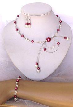 Ensemble de bijoux mariage parure de mariée  perles de verre