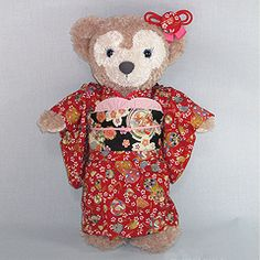 original hand made Shellie May Costume. Fits on plush Shellie May or even on DUFFY! *** Plush is NOT included. Duffy The Disney Bear, Kimono, Japanese Toys, Plush, Teddy Bear, Costumes, Friends, Red, Handmade