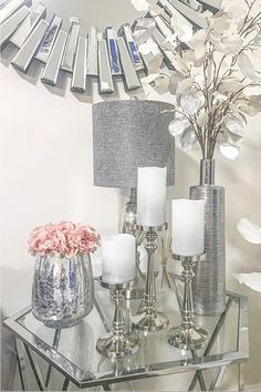This classic, silver, finial shaped candle holder is reminiscent of quintessential woodwork turnings. Perfect as a fixture of a handsome centerpiece or as a charming accessory to a bedside table. Table Decor Living Room, Glam Living Room, Glam Bedroom, Romantic Living Room, Living Room Decor Silver, Gray Home Decor, Blush And Grey Living Room, Black And Silver Living Room, White Bedroom