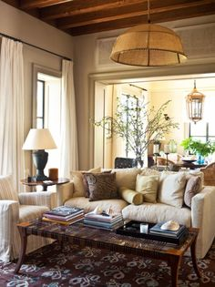 Warm & comfortable Living Space. I could def curl up in this house/room