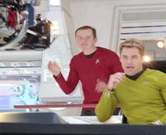 """Gif* Meanwhile on tha Star Trek Into Darkness set..."" - haha, and Chris pine is just sitting there totally oblivious! :)"