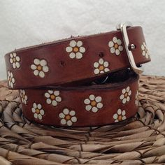 Lil' Daisies Leather Dog Collar  Pets Name  by GratifyDesign, $38.00