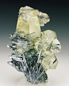 Calcite with #Stibnite, Quartz